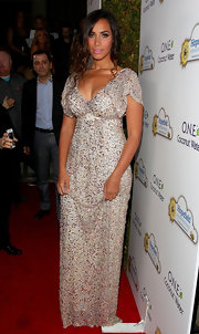 Leona Lewis sparkled at the Beverly Hills event in a white beaded gown.
