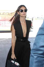 Lily Aldridge accentuated her tiny waist with an oversized black leather belt by Isabel Marant.