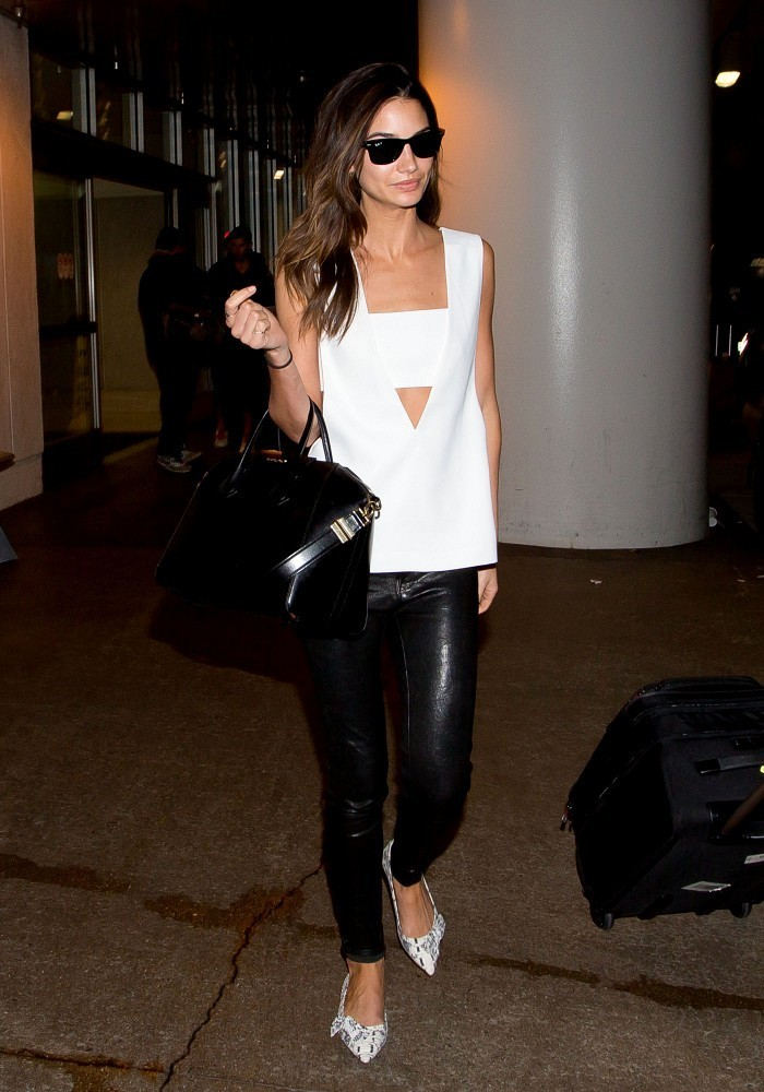 Lily Aldridge at LAX airport.