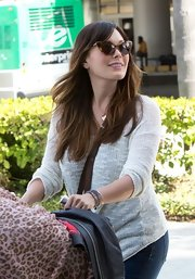 These leopard print cat eye sunglasses were retro-chic on Lindsay Price.