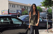 Lisa Ling showed up to lunch at Cafe Midi in a loose airy army green tank top.