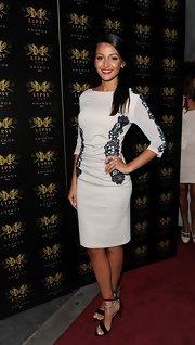 Michelle Keegan chose a three quarter-length gray dress with black lace detailing for the Lipsy VIP Awards.