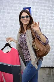 Lisa Snowdon chose a cool fur vest to give her a funky hippie-vibe while at the London Studios.