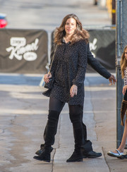 Liv Tyler kept her pins warm in black over-the-knee boots as she made her way to 'Jimmy Kimmel.'