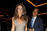 Elizabeth Hurley Wears a Shimmery Nude Cocktail Dress