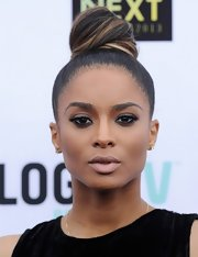 Ciara's nude lip had a slight silver tint to it that gave her just a dash of color.
