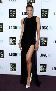 Ciara showed some major leg with this sleeveless black gown that featured a front leg slit.