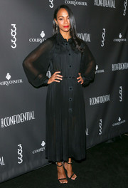 Zoe Saldana paired her dress with simple black ankle-strap sandals by Jimmy Choo.