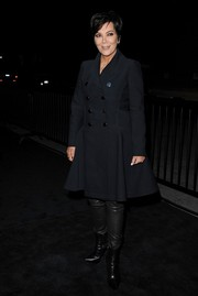 Kris Jenner went for a rocker edge with this double-breasted Louis Vuitton coat layered over leather pants when she attended the label's Series 2 exhibition.