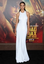 Courtney Eaton was all about understated elegance in a micro-beaded white Michael Kors gown at the 'Mad Max: Fury Road' premiere.