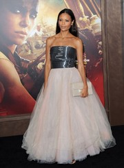 Thandie Newton was in prom princess mode at the 'Mad Max: Fury Road' premiere in a Monique Lhuillier strapless gown with a shiny silver bodice and a massive pale-pink tulle skirt.