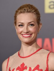 Beth Behrs styled her hair into a simple updo for the 'Mad Men' gala event.