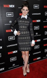 Alison Brie looked cute in her white platform peep-toes and sweater dress combo at the 'Mad Men' premiere.