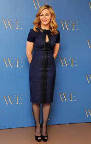 Madonna looked sophisticated at the 'W.E.' photocall in a crisp blue dress.