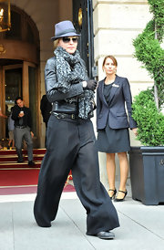 Madonna wore a pair of seriously wide slacks while directing in Paris.