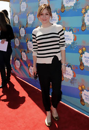 Sasha Alexander looked classically chic in a black-and-white Breton striped sweater.