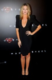 Jesinta Campbell opted for a more modern take on the LBD when she wore this point-shouldered, plunging neckline dress.