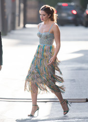 Mandy Moore sealed off her colorful look with green slim-strap heels by Jimmy Choo.