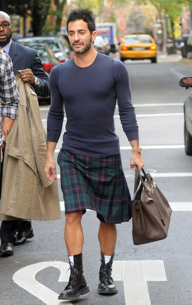 Marc Jacobs donned a plaid kilt while heading out for lunch with partner Lorenzo.