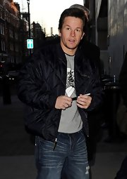 Mark Wahlberg sported a black puffa jacket while out and about in London.