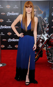 Dark red nail polish added some depth to Bella Thorne's look at the 'Avengers' premiere.