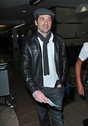 Patrick Dempsey looked dapper in a classic leather jacket.