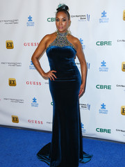 Vivica A. Fox looked ravishing in a blue velvet halter gown with a bedazzled neckline at the La Vie En Bleu event.
