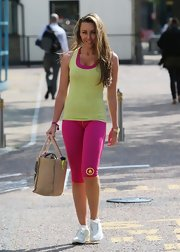 Michelle Heaton looked like she was ready to hit the gym when she sported this neon yellow tank.
