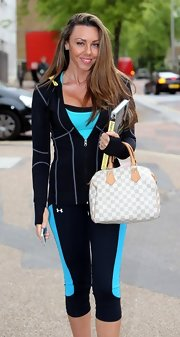 Michelle Heaton arrived at the London Studios in a comfy lounge outfit with a roomy handbag around her arm.