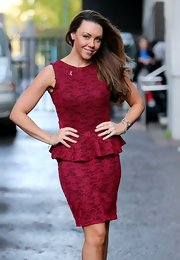 Michelle Heaton was seen outside the London Studios in a lace overlay peplum dress.
