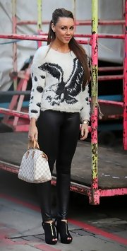 Michelle Heaton wore a sweater and leather pants at the London Studios.
