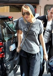 Miley Cyrus wore a casual knot beanie with a graphic T-shirt while enjoying a day off.