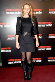 Beatrice Rosen donned a black dress with leather insets for the 'Mission: Impossible' premiere in Paris.