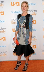 Julie Bowen went for a chic, modern look with this mixed-print Etro dress with a fluted hem during the 'Modern Family' fan appreciation day.