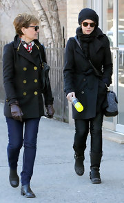Carey Mulligan bundled up in a black-on-black winter look while out walking with her mother.