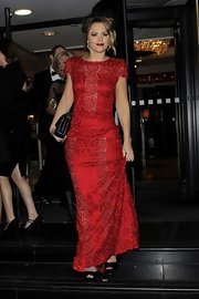 Kimberley Walsh looked very ladylike in a red lace evening dress at the 2012 Music Industry Trust Awards.
