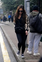 Myleene Klass sported a hip zip-up for an athletic but stylish look while taking her daughter to school.