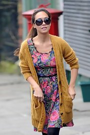 Myleene Klass looked fun and casual in a floral print dress while taking her kids to school.
