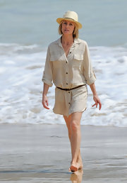 Robin Wright wore a casual shirt dress for filming on the beach.