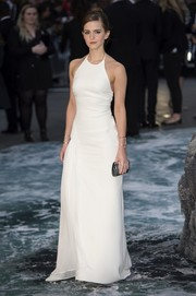 Emma Watson looked impeccable in a white Ralph Lauren halter gown during the London premiere of 'Noah.'