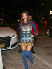 Olivia Munn added extra oomph with a pair of blue over-the-knee boots by Le Silla.