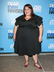 Chrissy Metz attended the opening of 'Dear Evan Hansen' wearing a little black dress with ruffle sleeves and pearl-studded shoulders.