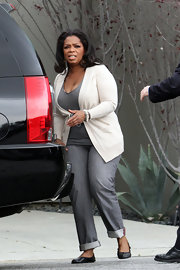 Oprah Winfrey kept it casual with gray jeans and a cardigan for her lunch date with Gayle King.