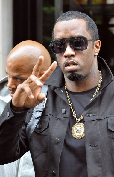 Diddy looked slick in matte black aviator-style shades with a tailored black jacket and his signature bling.