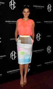 Amanda Byram opted for a pastel geometric print pencil skirt for her red carpet look at the Patrick Hellmann Launch Party.
