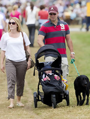 Autumn Phillips looked stylish in brown round frame sunglasses at Gatcombe Park.