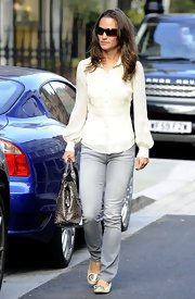 Pippa Middleton was out and about in chic ivory flats.