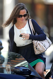 Pippa Middleton looked casually chic carrying a white leather Annina bag.