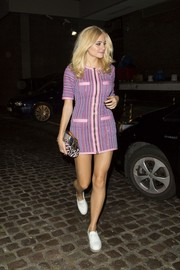 Pixie Lott opted for comfy white loafers by F-Troupe to finish off her outfit.