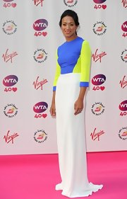 Anne Keothavong wore a classic floor-grazing evening dress in modern color-block hues when she attended the pre-Wimbledon party.